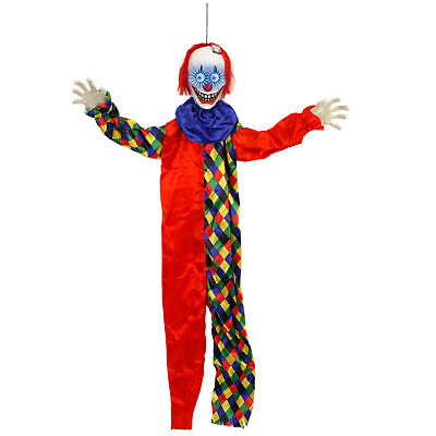 Halloween Haunters 5ft Animated Hanging Circus Clown Scary Eyes Prop Decoration