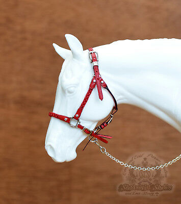 Custom Traditional 1:9 Scale RED Leather Braided Halter fits Breyer Peter Stone