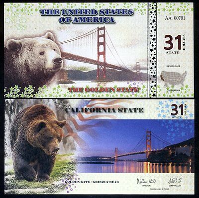 State Of California - 31 Staat Dollars, 2016, UNC - Golden Gate, Grizzlybär