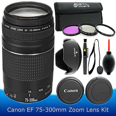 Canon EF 75-300mm f/4-5.6 III Telephoto Zoom Lens Kit for Canon DLSR Camera