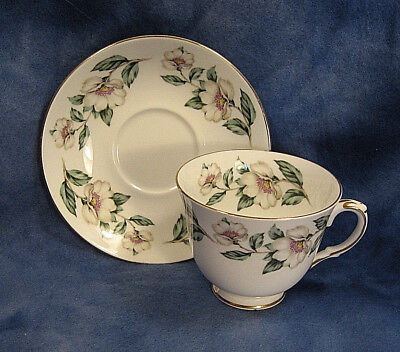 CROWN STAFFORDSHIRE Bone China Cup & Saucer White Flower CHRISTMAS ROSES England