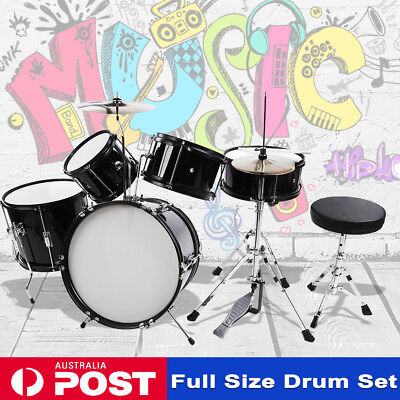 5 Piece Drum Kit Full Size Complete Set Cymbals Stool Drums Sticks Top Quality