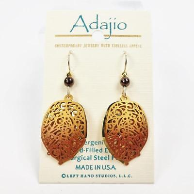 Adajio Earrings Brown Abstract Leaf Over Gold Plated Background Handmade in USA