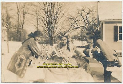1908 Photo Wheaton College Norton MA 3 Women Theatre Costumes Cross Dressing