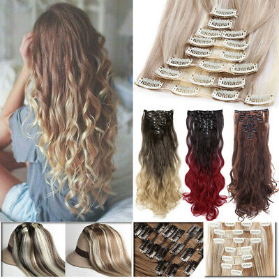 ON CLEARANCE 100% Real Thick Clip in as Human Hair Extensions Full Head Ombre HG