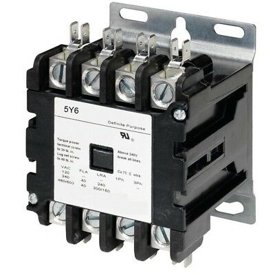 Definite Purpose Contactor 40 AMP 4 Pole 120V Coil HVAC, AC Lighting 50A 30A 40A