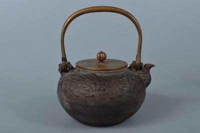 M2135: Japan XF Old Iron TEA KETTLE Teapot Tetsubin, Kibundo made w/copper lid