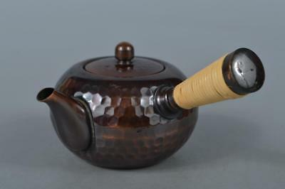M3031: Japanese Copper Finish hammer pattern TEAPOT Kyusu Sencha Tea Ceremony