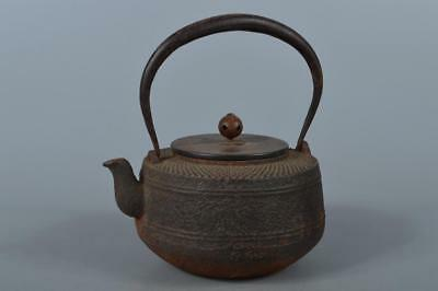 M3127: Japan XF Old Iron Arare pattern TEA KETTLE Teapot Tetsubin w/copper lid