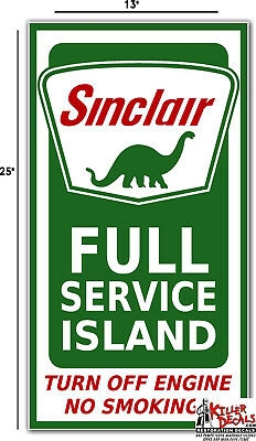 "25"" Sinclair Full Service Island #1 Gasoline Gas Oil Decal"