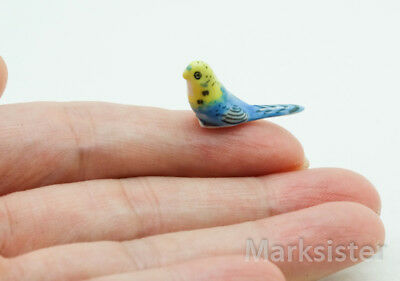 Ceramic Figurine Miniature Statue Tiny Budgerigar Budgies Parakeet Bird - CBX003