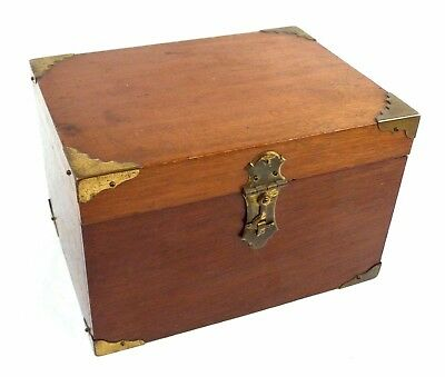 Antique Wooden Box Glass Lined & Bottomed Photographic Darkroom Brass Corners
