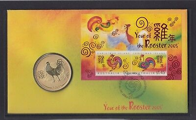CHRISTMAS IS  2005 Year of the ROOSTER PNC - Chinese New Year FDC with Coin .