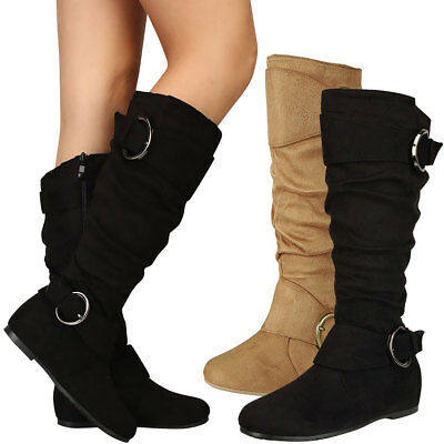 NEW Women's Slouchy Over-Size Buckle Strap Knee High Flat Boot Faux Suede Zipper