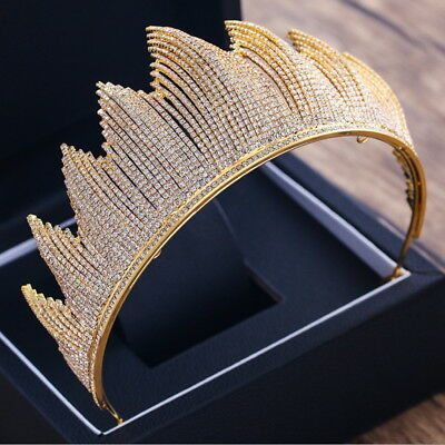 Full Crystal 7.5cm High Adult Gold Wedding Bridal Party Pageant Prom Tiara Crown