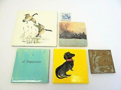 Mixed Vintage Lot Used Tiles Art Pottery Delft Windmill Geese Al Benessere Decor
