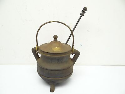 Antique Old Used Metal Cast Iron Brass Lid Stone Fireplace Starter Pot Cauldron