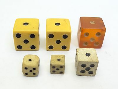 Lot of Antique Old Used Bone Celluloid Square Small Miniature Gaming Game Dice
