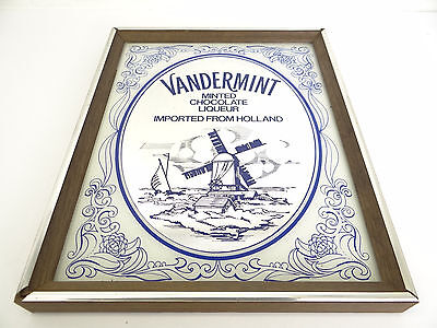 Vintage Used Vandermint Chocolate Liquor Holland Windmill Bar Mirror Advertising