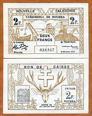 New Caledonia, 2 Francs, P-56, 1943 WWII, Scarce in UNC