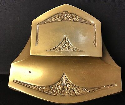 Heavy Antique Gilt Art Deco Double Ink Well  Real Bronze Deposé Rose Pattern