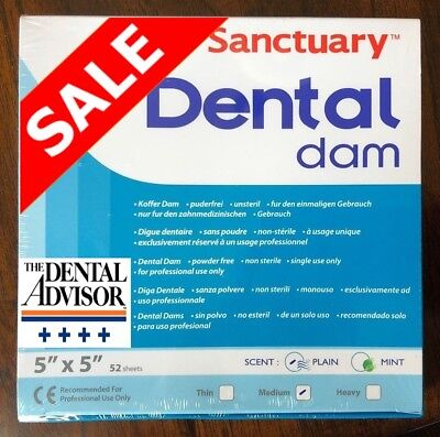 5 BOXES= 260 PCS Sanctuary Dental Rubber Dam Latex 5X5 Medium 52/PK Blue SHEETS