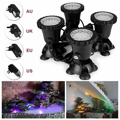 4X 36 LED RGB Underwater Spotlight Park Pond Fish Tank Lamp US/AU/UK/EU Plug