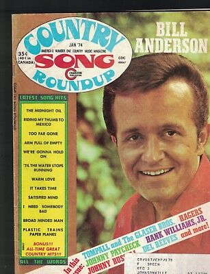 Country Song Roundup January 1974 Bill Anderson Hank Williams Jr Johnny Paycheck