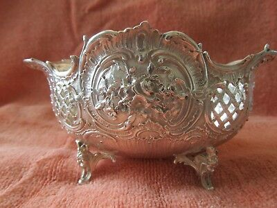 German 800 Solid Silver Rococo Repousse Reticulated Footed Bowl 126g