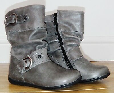 Bnwot Girls Next Grey Leather Boots Uk 6 New Party School Shoes Winter Smart