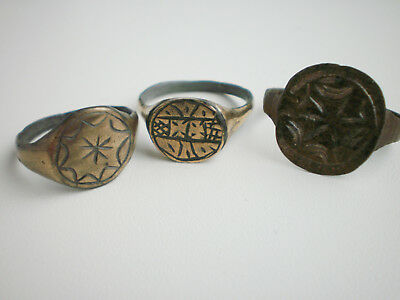 ANCIENT RARE Medieval Bronze FINGER RING  14 - 16 century AD Wearable Set 3
