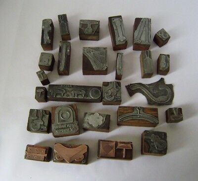 Vintage 26 Copper & Metal Wooden Printing Blocks Of Hardware Store Stock Quality