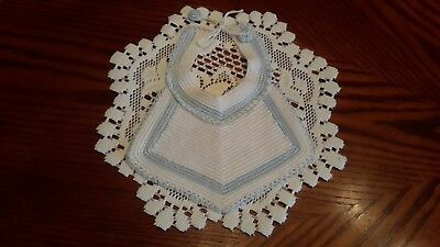 Vintage Hand Crocheted White W/Blue Accent Baby/Doll Bib