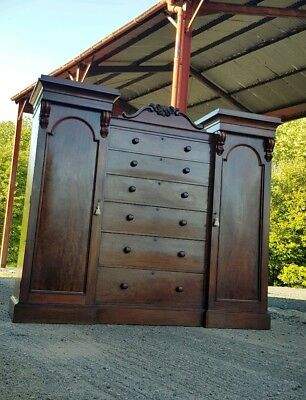 MAGNIFICENT VICTORIAN GENTLEMANS COMPACTUM WARDROBE, with a bank of six drawers