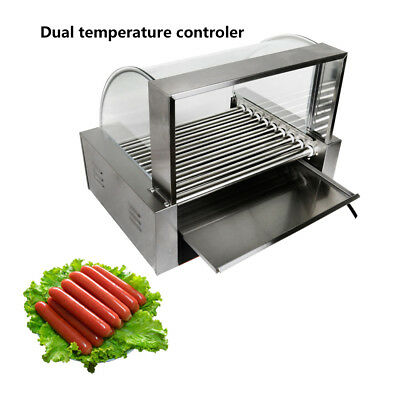 New Commercial 24 Hot Dog Hotdog 9 Roller Grill Cooker Machine W/ cover