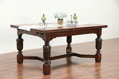 "English Tudor Oak Antique 9' 4"" Dining or Library Table, Berkey & Gay #29507"