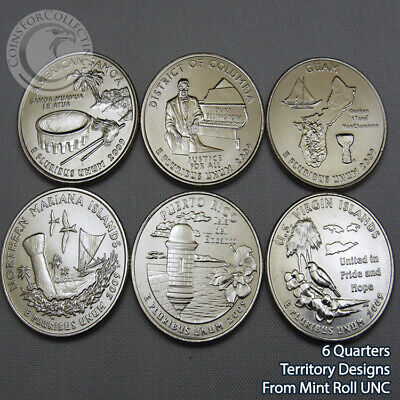 2009-P WASHINGTON TERRITORY QUARTER SET PHILLY - 6 Designs from Mint Rolls UNC