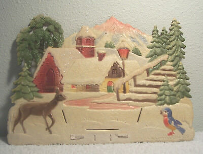 Vintage DEER SNOW VILLAGE BIRD Western Germany Embossed Die Cut Calendar Topper