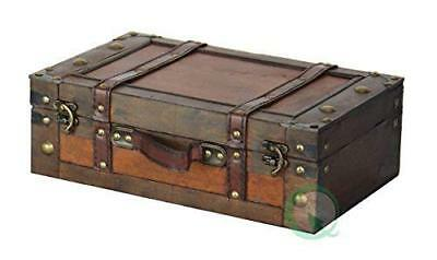 Steamer Trunk Suitcase Stripes Small Vintage Luggage Leather Antique Storage  NEW
