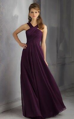 Mori Lee 20434 Bridesmaid Prom Dress In Eggplant Size 20 Eur 4515