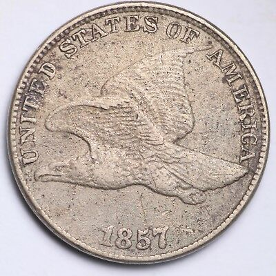 1857 DIE CRACK & CLASHED DIE Flying Eagle Small Cent CHOICE XF FREE P/H E127KCNT