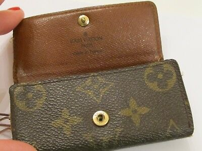 bcbb1fd89c9e Authentic Louis Vuitton Monogram Canvas Leather 4 Key Ring Case with Box