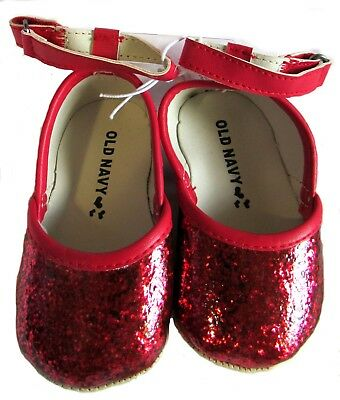 New Old Navy Baby Girls Red Glitter Ballet Flats Dress Shoes Infant