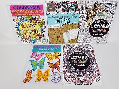 Adults Coloring Books For Stress Relief Lot Of 5 Over 180 Unique Images