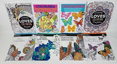 Adults Coloring Books For Stress Relief 8 Mega Pack Bundle Lot Over 270 Images