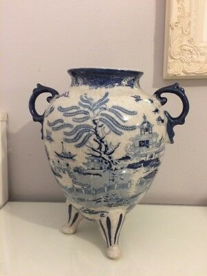 Large Blue And White Oriental Crackle Glaze Vase. 12 Inches Tall