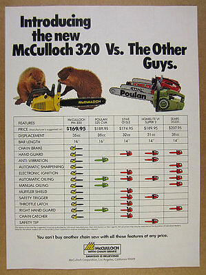 1978 McCulloch 320 Chain Saw Chainsaw beavers art vintage print Ad