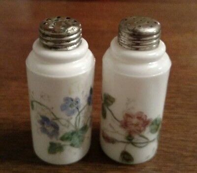 Antique Victorian Mt Washington White Glass Hand Painted Shakers set of 2