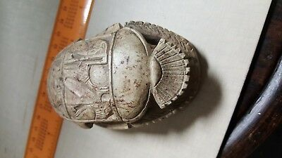 "Carved Stone Scarab Ancient Egyptian Beetle  3.6""x2.2"" x 1.7"" tall worth $300++"