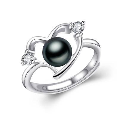 Enchanted Heart Natural Freshwater Pearl 925 Sterling Silver Ring F01